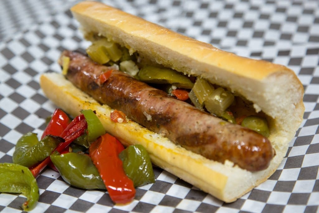 BIG ANGES: Italian Sausage Sandwich with Sweet Peppers and Giardiniera